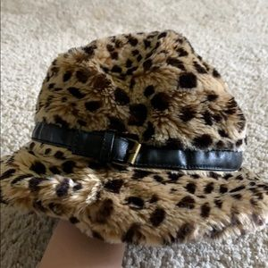 Nine West Faux Leopard Fur Bucket Hat